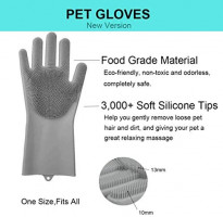 Pet Grooming Gloves - Dog Cat Bathing Grooming Gloves Silicone Pet Hair Remover with High Density Teeth Brush for Gentle Efficient Pet Grooming Clean Massage (Grey)