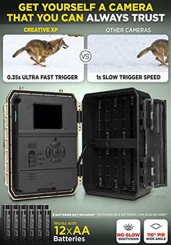 LTE 4G Cellular Trail Cameras – Outdoor WiFi Full HD Wild Game Camera with Night Vision for Deer Hunting, Security - Wireless Waterproof and Motion Activated – 32GB SD Card + Sim Card (1-Pack): Home Improvement