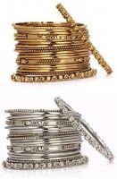 Efulgenz Boho Vintage Antique Ethnic Gypsy Tribal Indian Oxidized Silver Gold Plated Combo Bracelet Bangles Set Jewelry (20 pc each): Clothing