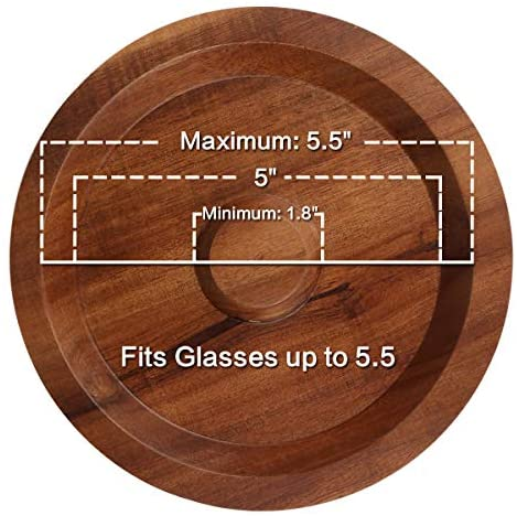 TMKEFFC Margarita Salt Rimmer Bar Cocktails Sugar Rimming, Acacia Wood Glass Rimmer for Wide Glasses up to 5.5 Inches: Rimming Salts & Sugars