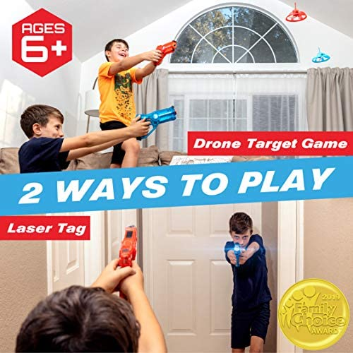 Power Your Fun Laser Launchers Laser Tag for Kids - Infrared Laser Tag Shooting Game Set with 2 Toy Guns and 2 LED Flying Toy Targets: Toys & Games