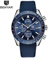 BENYAR Fashion Men's Quartz Chronograph Waterproof Silicone Watches Business Casual Sport Design Wrist Watch for Men Perfect for Father Son Black Blue Rose Gold: Watches