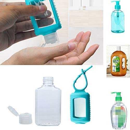4 Pack Travel Plastic Clear Bottles w/Silicone Sleeve Case Empty Squeeze Containers for Hand Sanitizer, Lotion, Soap Lotion, Flip Cap TSA Approved (60ml/2oz), Purple Teal Pink Black : Beauty
