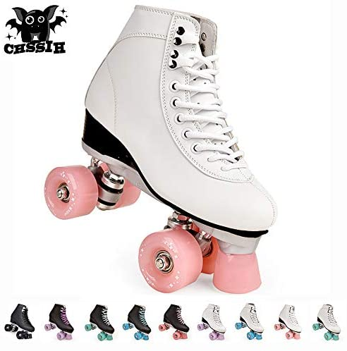 CHSSIH Roller Skates for Women,Outdoor Skates for Men/Girls,Adults Quad Roller Shoes,Unisex High-Top Artificial Leather Classic Double Line Skates,Suitable for Beginners Indoor and Outdoor,Pink-8: Home & Kitchen