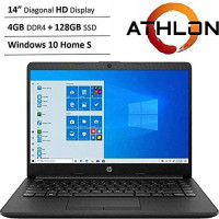 """Newest HP 14"""" HD WLED Backlit High Performance Business Laptop, AMD Athlon Silver 3050U up to 3.2GHz, 4GB DDR4, 128GB SSD, Wireless-AC, HDMI, Bluetooth, Webcam, SD Card Reader, Windows 10 S: Computers & Accessories"""