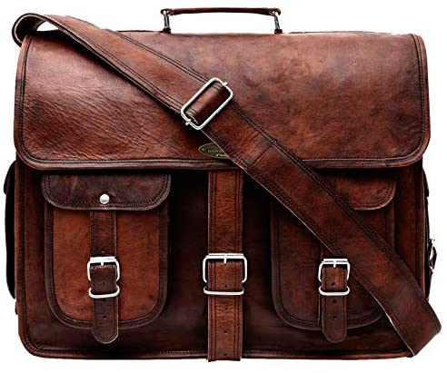 "Handmade World Leather Messenger Bag 16 Inch Brown Air cabin Briefcase Leather Cross body Shoulder Large Laptop School bag (12"" X 16""): Shoes"