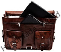 """Handmade World Leather Messenger Bag 16 Inch Brown Air cabin Briefcase Leather Cross body Shoulder Large Laptop School bag (12"""" X 16""""): Shoes"""