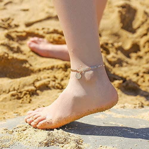 Ankle Bracelets for Women Initial Anklet, 14K Gold Filled Letter Initial Anklets for Women Handmade Figaro Chain Layered Anklets Gold Ankle Bracelets for Women Alphabet Ankle Bracelets with Initials A: Clothing