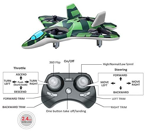 Zego F22 Remote Control Drone for Kids and Beginne, Easy to Fly and Hover, RC Quadcopter Fighter Jet with 360° Flip, LED Light Indication, 4 Blade Propellers, Upgraded 2 Batteries, Best Gift for Kids: Toys & Games