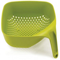 Joseph Joseph Square Colander Stackable with Easy-Pour Corners and Vertical Handle, Medium, Green: Kitchen & Dining