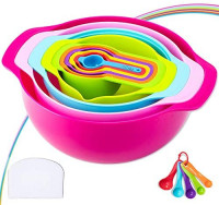 16 Piece Mixing Bowl Set - Colorful Kitchen Bowls Colander Mesh Strainer Plastic Nesting Bowls - with Easy Pour Spout, Colorful, Measure Cups, and Spoons - for Baking, Cooking, and More: Kitchen & Dining