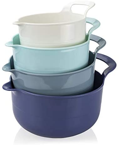 Cook with Color Mixing Bowls - 4 Piece Nesting Plastic Mixing Bowl Set with Pour Spouts and Handles (Ombre Pink): Kitchen & Dining