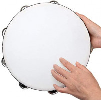 3 Pack Wooden Tambourine 10 inch / 7 inch / 6 inch Hand Held Tambourine Single Row, Toy Instrument Handheld Drum, Metal Jingles Hand Tambourine for Church, Party, Kids Game, Musical Educational: Musical Instruments