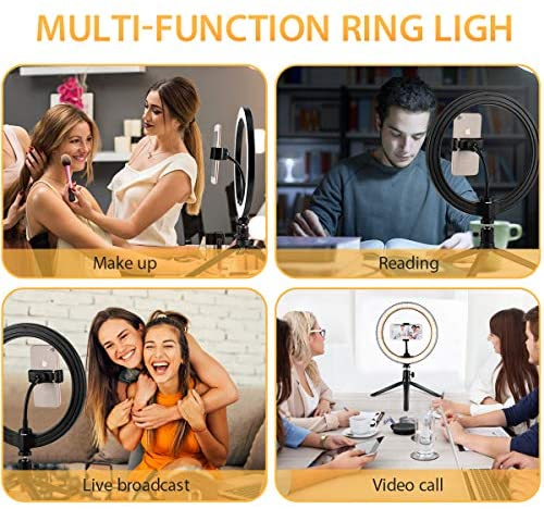 """10"""" Ring Light, with Phone Holder Selfie Ring Light, 3 Lighting Modes and 10 Brightness Levels, for Live Streaming, YouTube, Makeup, Video Shooting, Vlog, Selfie (Remote Control for iPhone Android)"""