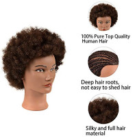Manequin Head Afro Mannequin Head 100% Human Hair Mannequin Head Hairdresser Training Head Manikin Cosmetology Doll for Hairdresser Practice Styling Braiding with Clamp Stand : Beauty