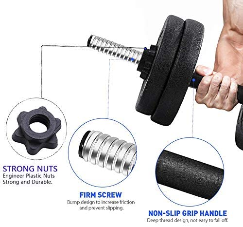 Adjustable 66LB Dumbbell Weights Set, Home Gym Barbell Plates, Barbell Lifting for Bodybuilding Training Workout, Solid with Strenthering Bars Non-Slip Weights Dumbbell Set 66 LB : Sports & Outdoors