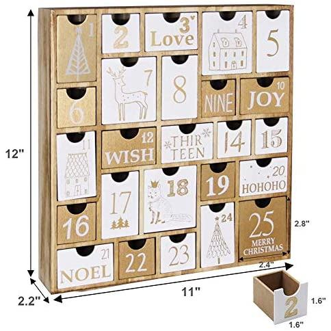 Juegoal Advent Calendar with 25 Drawers Countdown to Christmas, Refillable Wooden Advent Xmas Gift for Kids, 12 Inches Tall: Home & Kitchen