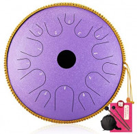 14 Inch 14 Notes Harmonic Handpan Drum, Steel Tongue Drum, Percussion Instrument, Tank Drum Chakra Drum for Meditation, Yoga and Zen with Travel Bag and Mallets,F: Sports & Outdoors