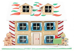 Clever Creations Traditional Wooden Advent Calendar | Festive Christmas Village Design with 24 Drawers | LED Christmas Lights and Rotating Christmas Tree | Battery Operated: Home & Kitchen