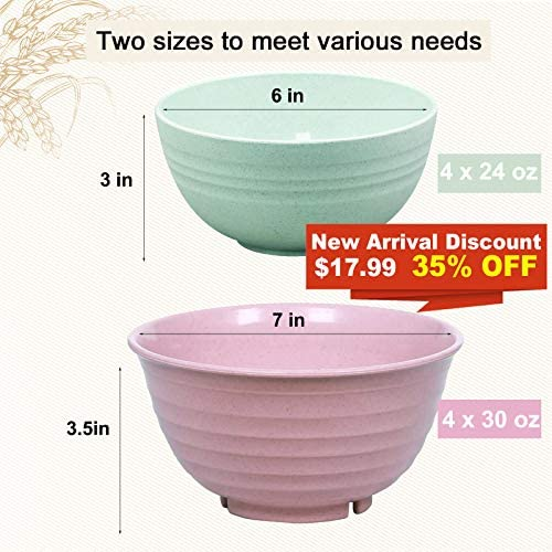 DeeCoo Mixed Size Unbreakable Cereal Bowls - 24, 30 OZ Wheat Straw Fiber Lightweight Bowl Sets 8 - Dishwasher & Microwave Safe - for Children, Rice, Soup, Salad Bowls: Cereal Bowls