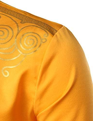 LucMatton Men's African Traditional Dashiki Luxury Metallic Gold Printed Mid Long Wedding Shirt at Men's Clothing store
