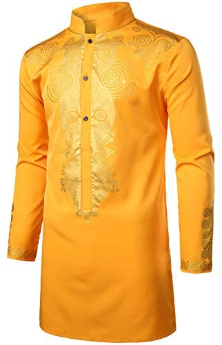 LucMatton Men's African Traditional Dashiki Luxury Metallic Gold Printed Mid Long Wedding Shirt at Men's Clothing store