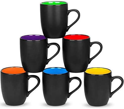 6 Pack Large Coffee Mug Set 16 Ounces, DeeCoo Matte Black Porcelain Mug - DeeCoo Large-sized Ceramic Restaurant Drinking Cups for Coffee, Tea, Juice, Cocoa: Kitchen & Dining