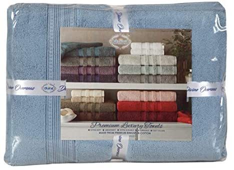 Divine Allure Luxury Zero Twist -100% Naturally Feather Soft Zero Twist Ringspun Cotton Yarn,Extra Large,Elegantly Plush, (8 Pcs Towel Set, Aqua): Home & Kitchen