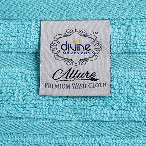 Divine Allure Luxury Zero Twist -100% Naturally Feather Soft Zero Twist Ringspun Cotton Yarn,Extra Large,Elegantly Plush, (8 Pcs Towel Set, Aqua): Home & Kitchen