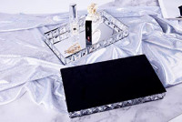 GouShang Mirror Tray Decorative Tray Perfume Tray Makeup Tray Jewelry Tray Sliver Mirrored Tray for Crystal Beaded Vanity, Dresser, Bathroom, Bedroom,Living Room: Home & Kitchen