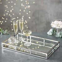 Le'raze Mirrored Vanity Tray, Decorative Tray with Chrome Rails for Display, Perfume, Vanity, Dresser and Bathroom, Elegant mirror tray Makes A Great Bling Gift –16X10 Inch: Kitchen & Dining