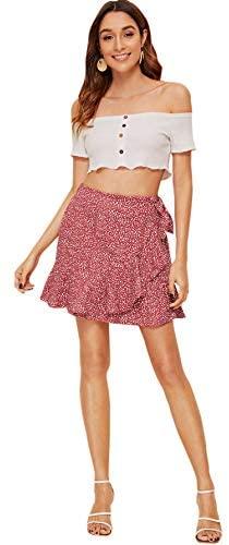 WDIRARA Women's Polka Dots Knot Wrap Side Ruffle Mini Skirt at Women's Clothing store