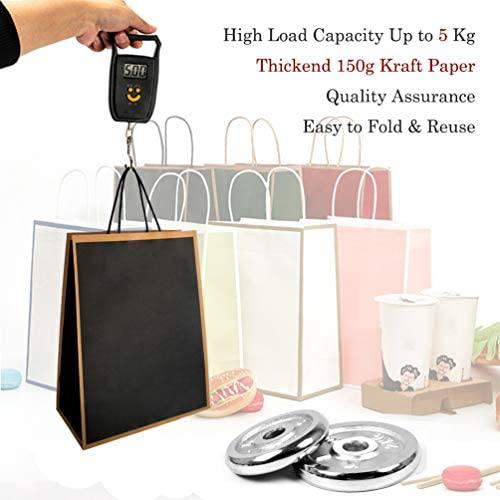KEYYOOMY Kraft Paper Bags with Handles (Black, 12 CT, 5.9 x 8.2 x 3.1 in): Health & Personal Care