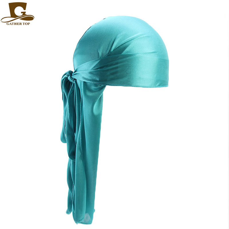 European And American Hot Models For Men And Women Imitation Silk Long Tail Turban Hat Pirate Hat Silky Durag TJM-05C