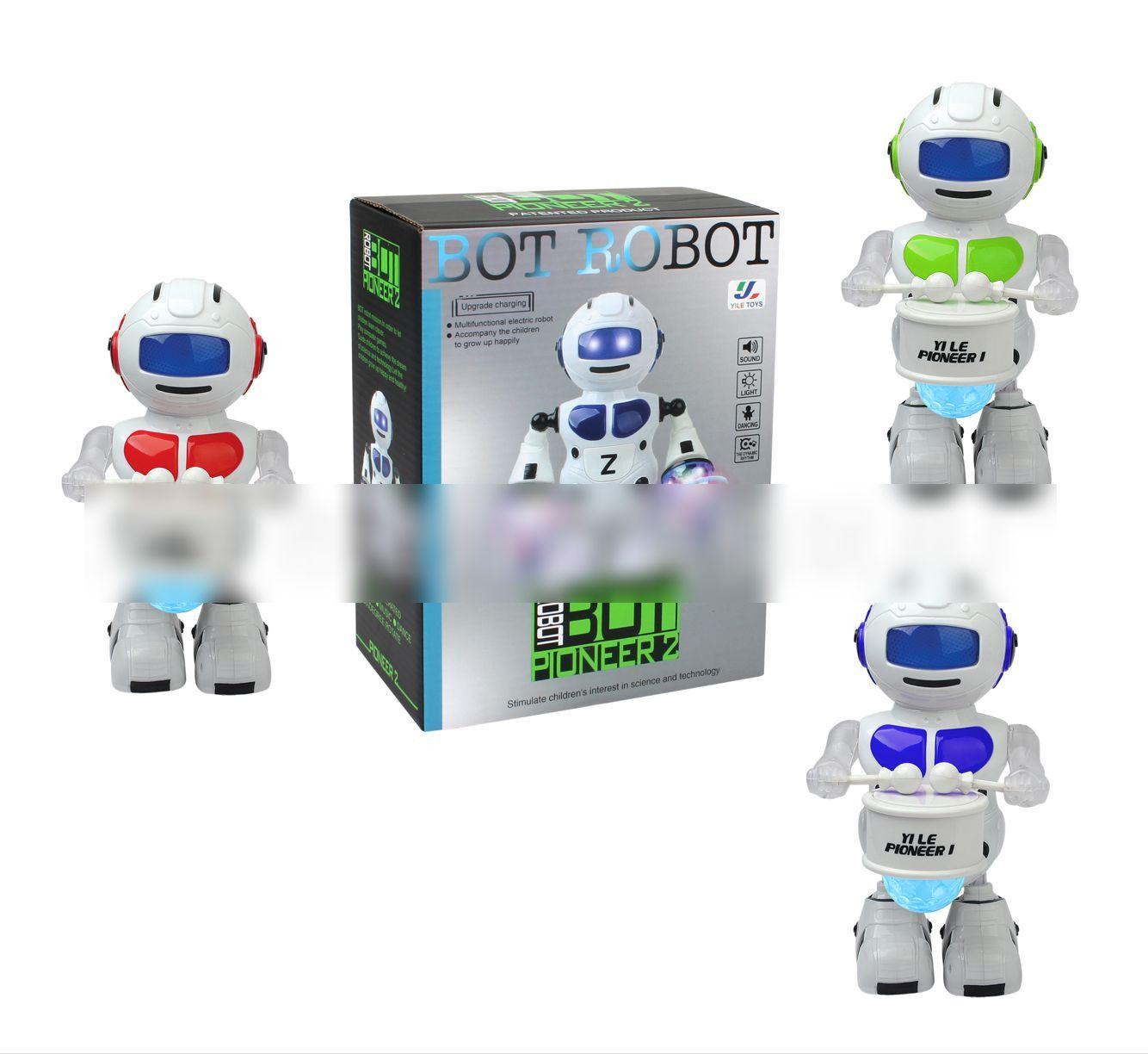 Colorful Light Music Dancing Robot Model Children Electric Educational Toys Drum Laser Robot