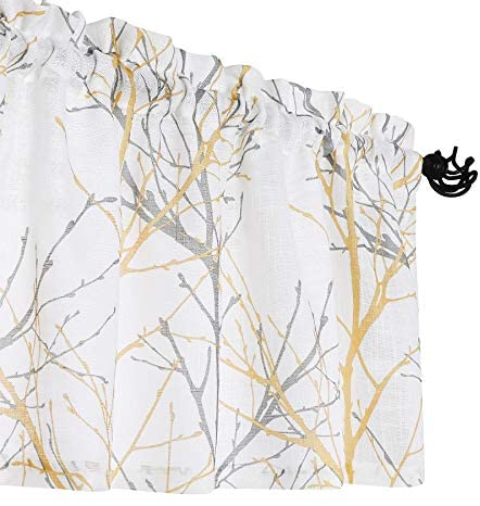 """Fmfunctex White-Yellow Window Valance Curtain for Living Room 18"""" Grey Branch Print Valance for Kitchen 50"""" W x 18"""" L, 1 Panel: Home & Kitchen"""