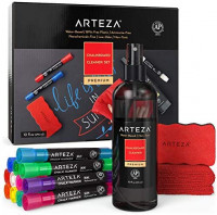 Arteza Chalkboard Cleaner Set with 12 Assorted Color Chalk Markers, Magnetic Eraser, 10-Ounce Cleaner & Microfiber Fabric Towel for Blackboards, Chalkboards, and Menu Boards : Office Products