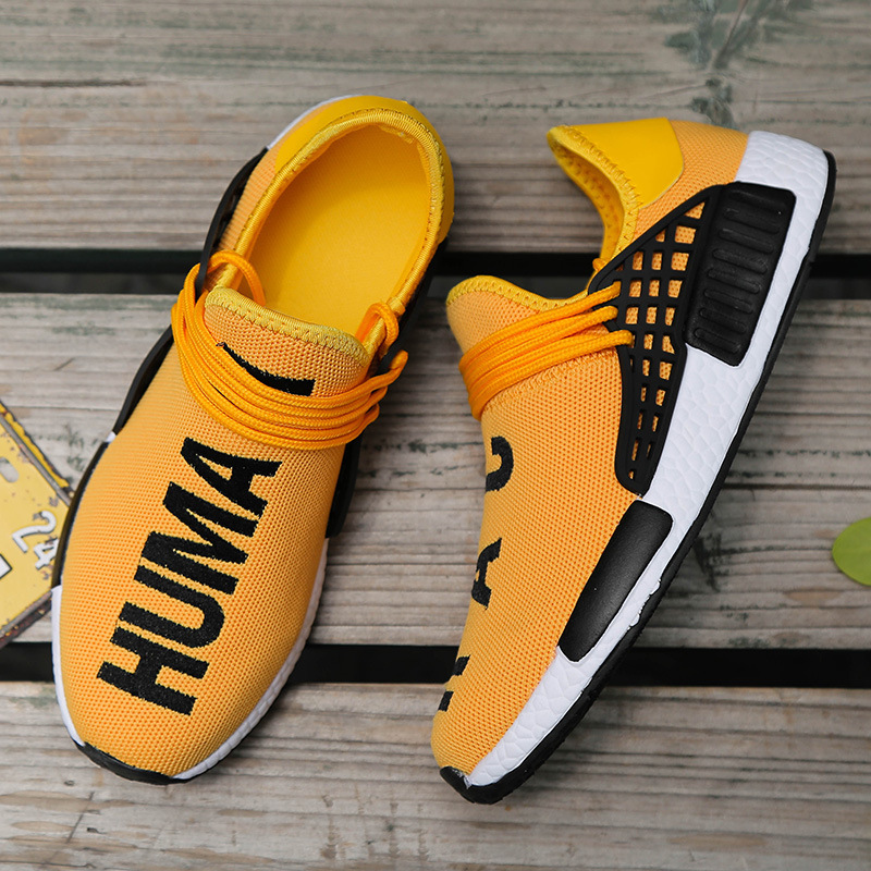 Autumn Korean Breathable Running Shoes Middle School Students Casual Letters Youth Sports Travel Shoes Yellow Popular Men's Shoes Trend