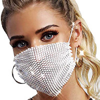 3Pack Sparkly Rhinestone Mesh Mask Crystal Masquerade Party Halloween Genie Costume Nightclub Washable Reusable Sequin Face Mask for Women and Girls,White: Beauty