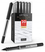 Arteza Rollerball Pens, Pack of 20, 0.5mm Black Liquid Ink Pens for Bullet Journaling, Fine Point Rollerball for Writing, Taking Notes & Sketching: Office Products