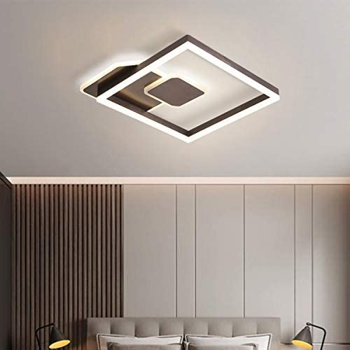 Qcyuui Square LED Ceiling Light, 43W Flush Mount Close to Ceiling Lights, Coffee Modern Acrylic Lighting Fixtures for Living Room Bedroom Dining Room Kitchen Indoor Decor, Dimmable: Home Improvement