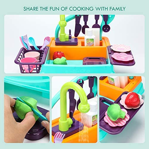 Kids Play Kitchen Sink Toys, Electric Dishwasher Playing Toy with Sink, Running Water, Stove, Utensils and Playfood, Automatic Water Cycle System Pretend Role Play Toy for Boys Girls, Set Gifts: Toys & Games