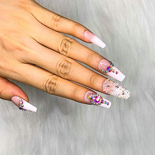 Artquee 24pcs French Nude Pink Ombre Ballerina with Rhinestones Long Coffin Fake Nails Press on Nail False Tips Manicure for Women and Girls : Beauty