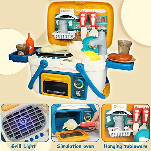 Nobie vivid Play Kitchen, BBQ Kitchen Toys with Sounds and Lights,2 in 1 Toy Suitcase, 30pcs Simulation Props, including Faucet with Running Water, Sink, Stove, Oven, Portable Cooking Pretend Playset: Home Improvement