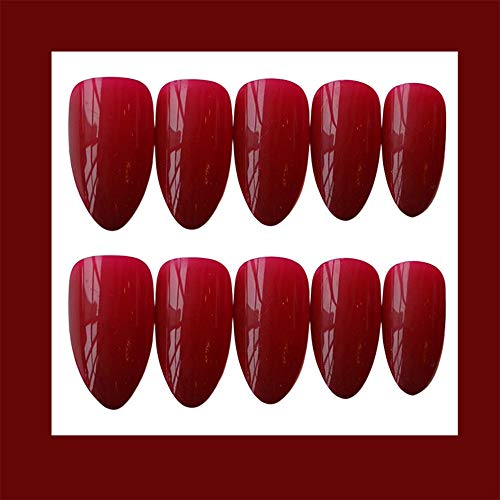 Aimimier 24Pcs Stiletto Shaped Matte False Nails with Design Medium Full Cover Press on Nails with Glue Sticker Boho Nails Art Tips Set for Women and Girls (Black) : Beauty