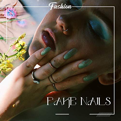Harosy Coffin Ballerina Fake Nails Orange Extra Long Press on Nails Glossy Glitter Acrylic Nails for Women and Girls 24Pcs : Beauty