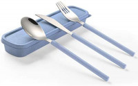ArderLive 3 PCS Outdoor Flatware Set with Case ,Fork Spoon Knife/Travel Set for Travel, Lunch Box and Camping(blue): Flatware Sets