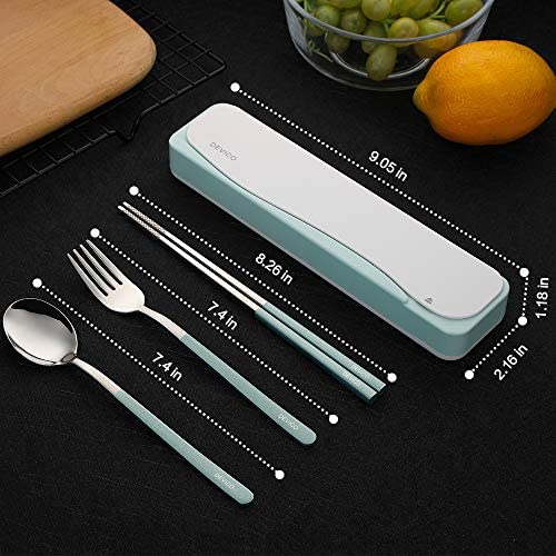 DEVICO Travel Utensils, 18/8 Stainless Steel 4pcs Cutlery Set Portable Camp Reusable Flatware Silverware, Include Fork Spoon Chopsticks with Case (Green): Flatware Sets