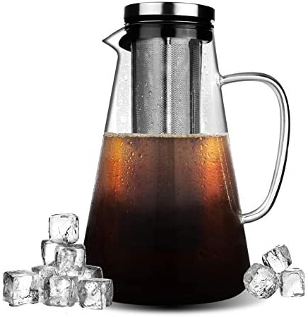 Phyismor Cold Brew Iced Coffee Maker,1.5L/50oz Manual Iced Coffee Tea Maker,Borosilicate Glass Carafe with Removable Stainless Steel Filter: Kitchen & Dining