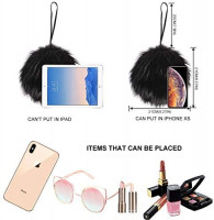 LILYFUR Fur Handbags Purses for Women, Winter Fashion Cute Fuzzy Faux Fur Feather Coin Purse Round Clutch Evening Bag Gift for Girlfriend Handle Wristlet Party Bag, Black: Shoes